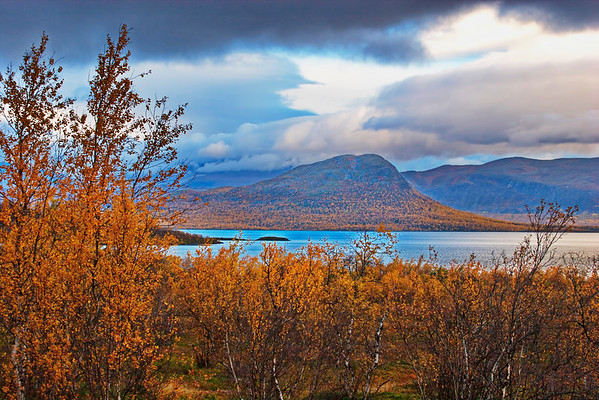 Cloudy autumn day at the shore of lake Torneträsk