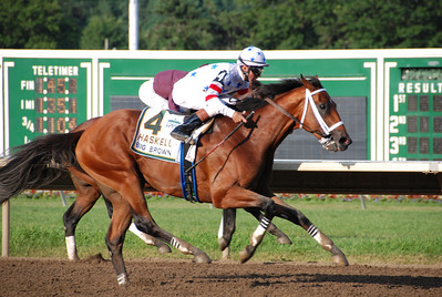 Big Brown pulling ahead of Coal Play near the finish of the 2008 Haskell Invitational at Monmouth Park