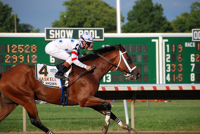 Big Brown winning the 2008 Haskell Invitational at Monmouth Park...and at 1 to 5, paid 20 cents