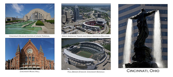Cincinnati - Notable Landmarks - outside 3 panels of card