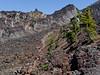 The Pacific Crest Trail climbs through lava fields near Collier Cone