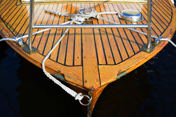 Detail of a vintage wooden motorboat