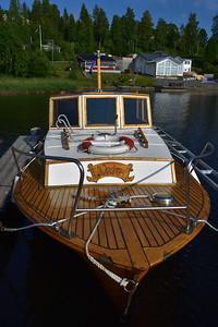 Vintage wooden motorboat