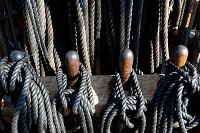 Rigging near the mast of a tall ship