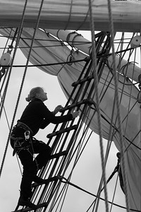 Skepp Trekronor i Örnsköldsvik 2013 -  Crew at work on a sailing ship