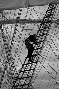 Skepp Trekronor i Örnsköldsvik 2013 -  Sailor climbing in the rigging of a tall ship - monochrome