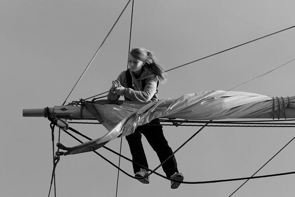 Skepp Trekronor i Örnsköldsvik 2013 -  Woman loosening sails - monochrome