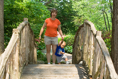 K.C. and Laura near the apex of the bridge.