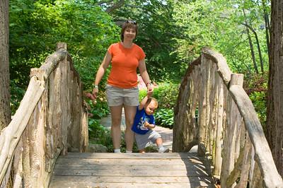 K.C. and Laura near the apex of the bridge.