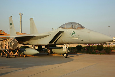 '1315' F-15B RSAF. Built as TF-15A 71-0291 (the 12th F-15 built, first flew 18/10/73), used as a demonstrator/test aircraft and also as the F-15E development aircraft. Later used as an instructional airframe and BDRT at Robins AFB, before arriving at Alsalam Aircraft Co, Riyadh KKIA on 6/11/02 and restored & painted into RSAF markings.