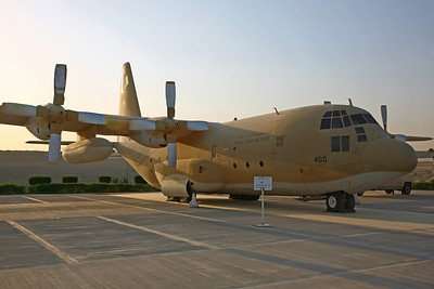 460 C-130H (4566) RSAF 4Sq. Restored for display after a ground fire at Jeddah on 27/3/89.