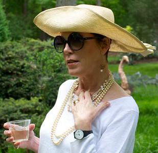 Susan Reda wearing her Hyacinth hat