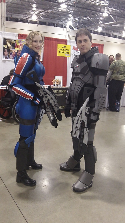 . A couple of science fiction fans dress as characters from their favorite video game. Photo by David Komer