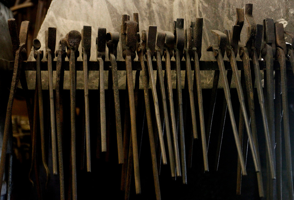 . Tools hang above the forge at John Hudson\'s blacksmith shop across from Point Lobos in Carmel, Calif. on Wednesday August 21, 2013.  (Photo David Royal/ Monterey County Herald)