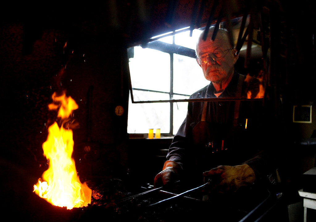 . Blacksmith John Hudson, 78, works at his shop across from Point Lobos in Carmel, Calif. on Wednesday August 21, 2013.  (Photo David Royal/ Monterey County Herald)