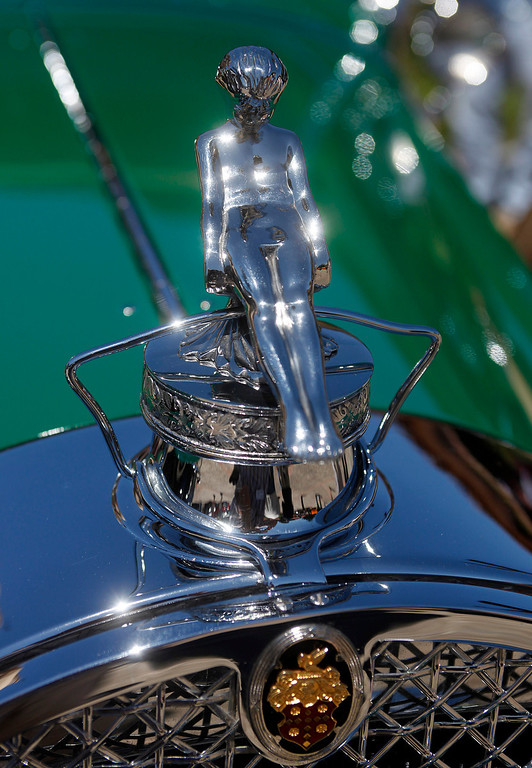 . The hood ornament on a 1929 Packard owned by Pat Phinny during the Blessing of the Cars at Carmel Mission in Carmel, Calif. on Wednesday August 14, 2013.   (Photo David Royal/ Monterey County Herald)