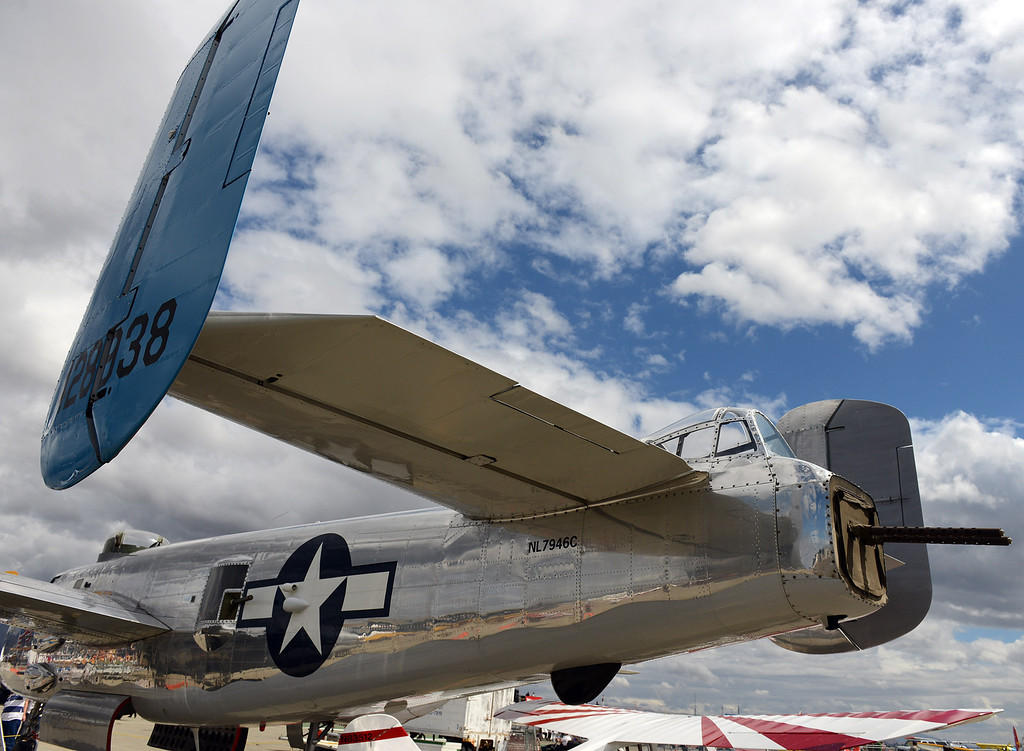 . The tail gunners area of a B-25 Mitchell at the California International Airshow Salinas at the Salinas Airport in Salinas, Calif. on Saturday September 21, 2013.  (Photo David Royal/ Monterey County Herald)