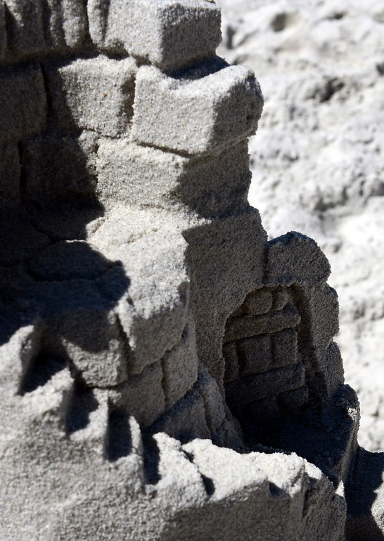 . A detail shot of Sleeping Beauty\'s Tower built by Scott Weaver during the Sand Castle Contest on Carmel Beach in Carmel, Calif. on Sunday September 15, 2013. (Photo David Royal/ Monterey County Herald)