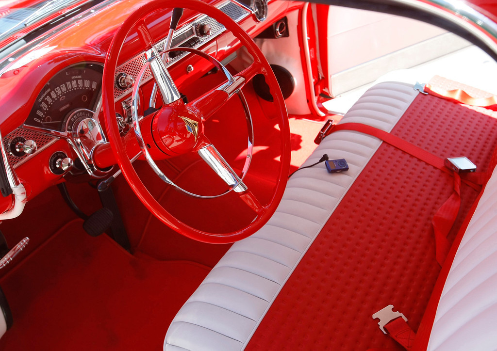. The pristine red and white interior of a 1955 Chevrolet Nomad at the Concours on the Avenue in Carmel on Agust 13, 2013.  (Vern Fisher/Monterey County Herald)