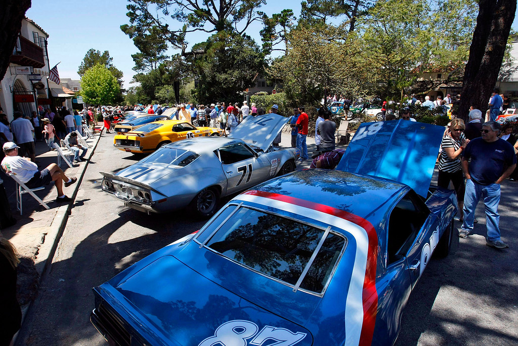 . A group of Mustangs, Camaro\'s and Firebirds at the Concours on the Avenue in Carmel on Agust 13, 2013.  (Vern Fisher/Monterey County Herald)