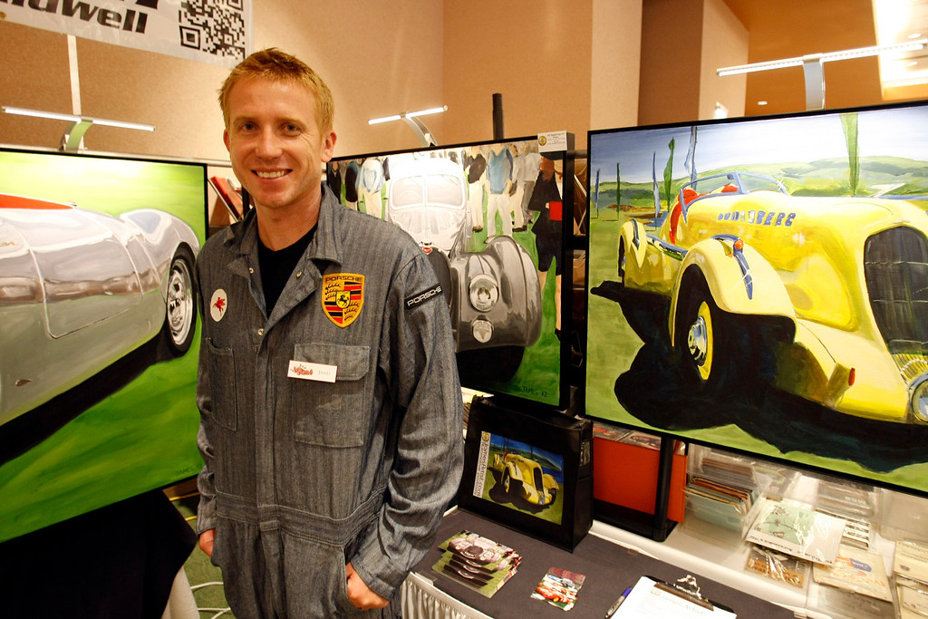 . Automtive artist James Caldwell at the Automobilia Monterey International Expo on Agust 13, 2013.  (Vern Fisher/Monterey County Herald)