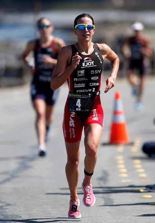 . Womens winner Radka Vodickova of Czechoslovakia runs during the Elite Race at the Pacific Grove Triathlon in Pacific Grove, Calif. on Saturday September 14, 2013.  Photo David Royal/ Monterey County Herald)