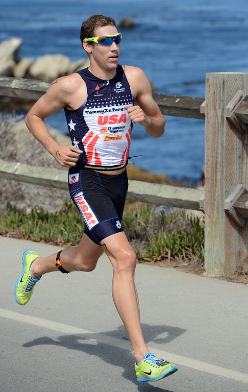 . Mens winner Tommy Zaferes of Aptos, Calif. runs during the Elite Race at the Pacific Grove Triathlon in Pacific Grove, Calif. on Saturday September 14, 2013.  Photo David Royal/ Monterey County Herald)