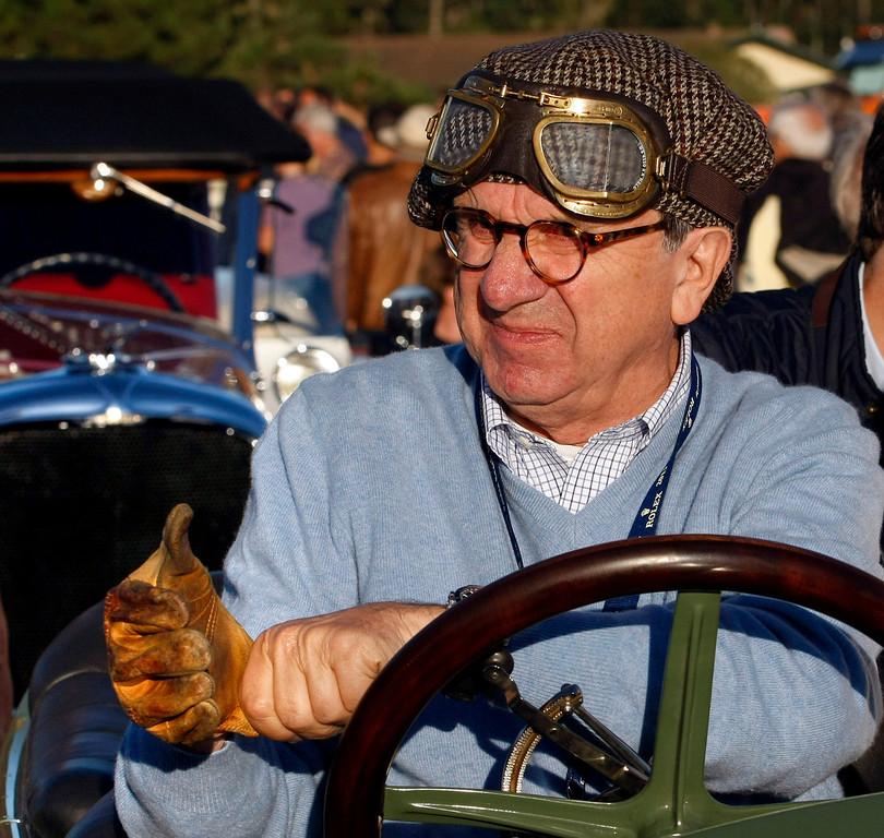 . Everett Louwman gets ready to drive his 1910 Benz 22/80 Prinz Heinrich Renn Wagen during the Tour d\'Elegance on August 15, 2013.  (Vern Fisher/Monterey County Herald)
