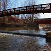 A new pedestrian bridge just downstream from the covered bridge