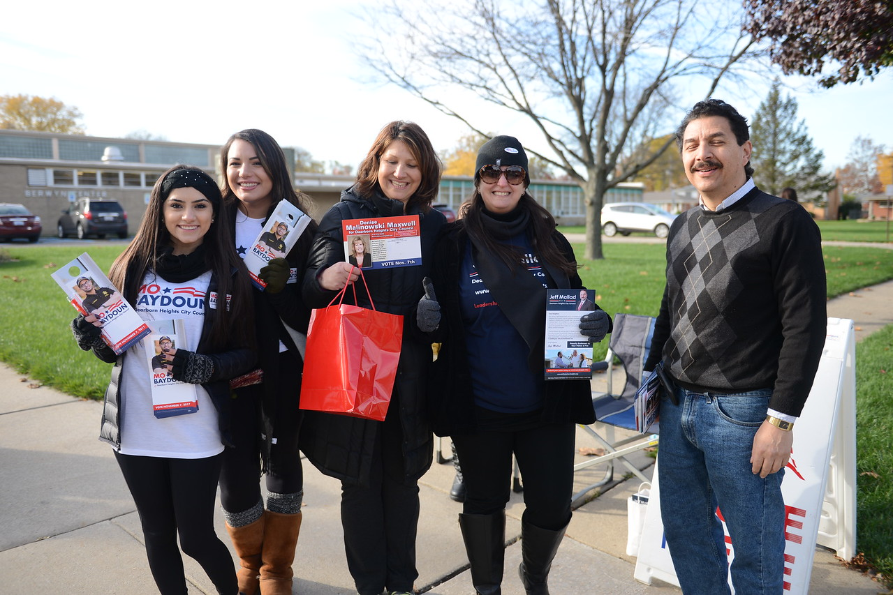 Campaign volunteers pose for a photo outside the Berwyn Senior Center in Dearborn Heights on Nov. 7. Jessica Strachan -- For The Press & Guide
