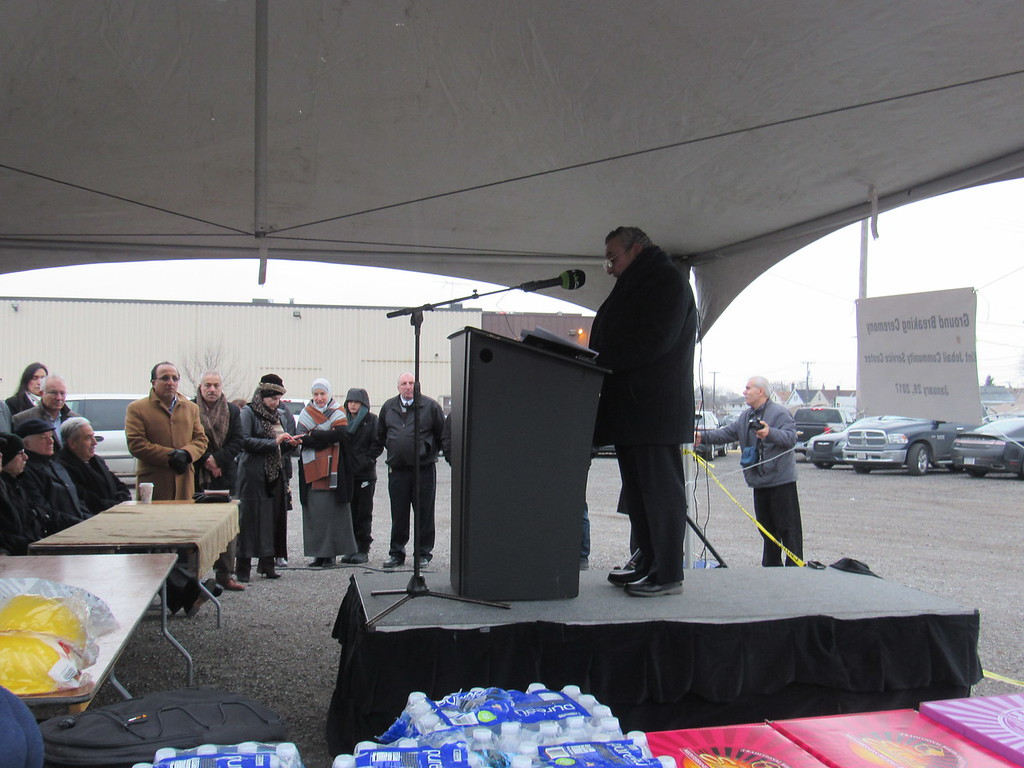 . Bint Jebail Cultural Center founder, Mohammed Turfe, gave an opening address at the groundbreaking ceremony for a new community service center Jan. 28.  Photo by Micah Walker