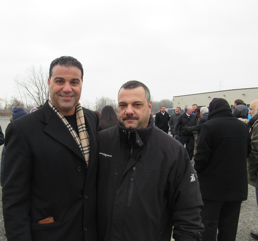 . BJCC President Zeyad Nasser poses with Vice President Chade Saghir at the organization\'s groundbreaking ceremony Saturday, Jan. 28.