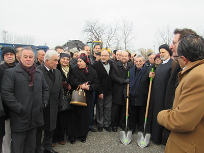From center left: Dearborn Mayor John  B. O'Reilly, BJCC founder Mohammed Turfe, and other community leaders break ground on the organization's new facility.  Photo by Micah Walker