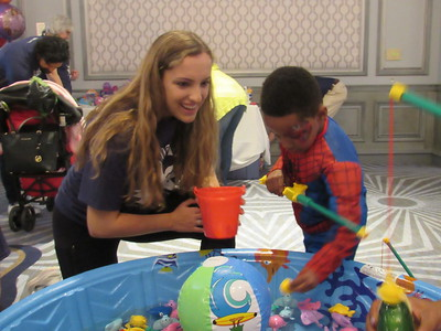 "Spiderman ""goes fishing"" at the 8th annual Princess and Superhero Party Sunday, May 7 at The Henry Hotel."