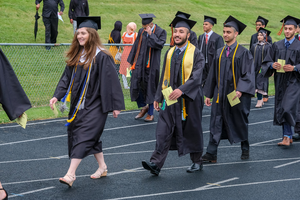 . Congratulations to the Class of 2018 at Dearborn High School! The Pioneers took a chance on the weather, and held their commencement on the football field, despite the fact that it rained most of the day. Photos by Matthew Thompson for The Press & Guide