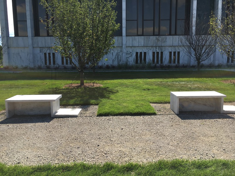 The fountain that used to be in front of the library is now being used for five benches that are a part of the new Veterans Park and War Memorial.