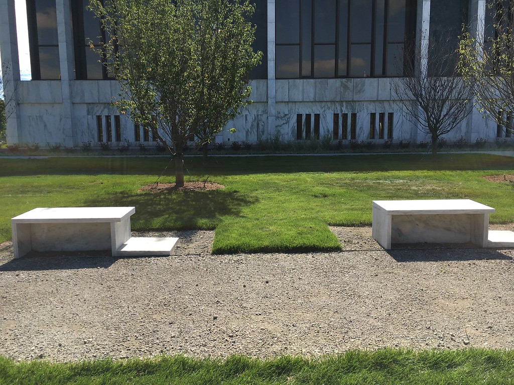 . The fountain that used to be in front of the library is now being used for five benches that are a part of the new Veterans Park and War Memorial.