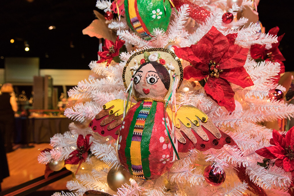 . Mary Clare Duran created hand made paper mache angles for her tree. Photo by Debbie Malyn for the Press & Guide.