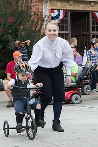 Riders from the Michigan Division of The Wheelmen demonstrated their vintage bicycles in celebration of the 200th anniversary of the invention of the bicycle. Members 2 year old Andrew Spurgean and his mother Christa. Photo by Debbie Malyn for the Press & Guide.