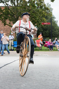 Riders from the Michigan Division of The Wheelmen demonstrated their vintage bicycles in celebration of the 200th anniversary of the invention of the bicycle. Photo by Debbie Malyn for the Press & Guide.