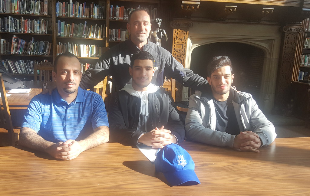 . Fordson seniors Mohamed Baiz, Sulaimaan Shajrah and Ahmad Sabbagh officially signed on Wednesday to play football at Lawrence Technological University. They were honored with a signing ceremony at Fordson on Wednesday.  Photo by Frank Wladyslawski - Press & Guide