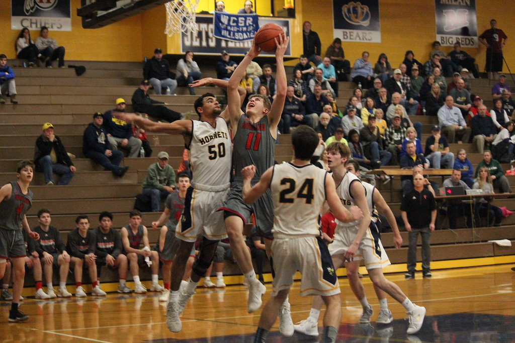 . Divine Child took on Hillsdale on Monday night in a Class B regional semifinal at Carleton Airport. The Falcons came away with an 83-55 victory and moved on to the regional final. Photo by Ricky Lindsay - For The Press & Guide