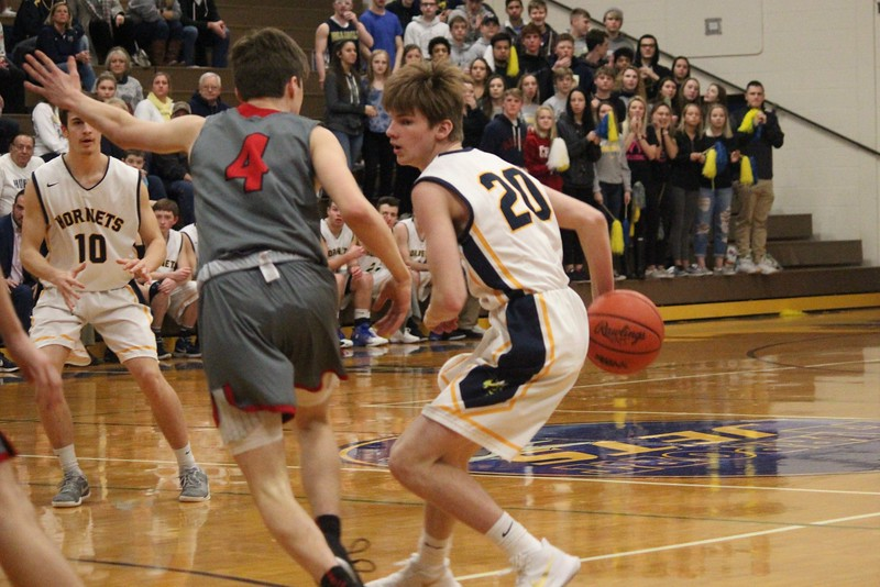Divine Child took on Hillsdale on Monday night in a Class B regional semifinal at Carleton Airport. The Falcons came away with an 83-55 victory and moved on to the regional final. Photo by Ricky Lindsay - For The Press & Guide