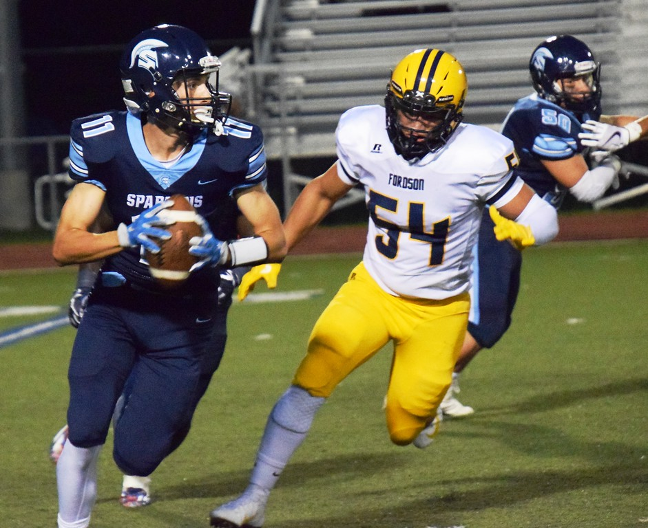 . Defensive end Mohamad Mokdad (54) helped Fordson limit Livonia Stevenson to only 14 points on Friday night. A 45-14 win for the Tractors improved their record to 3-0 overall and 2-0 in the KLAA East. Alex Muller - For Digital First Media