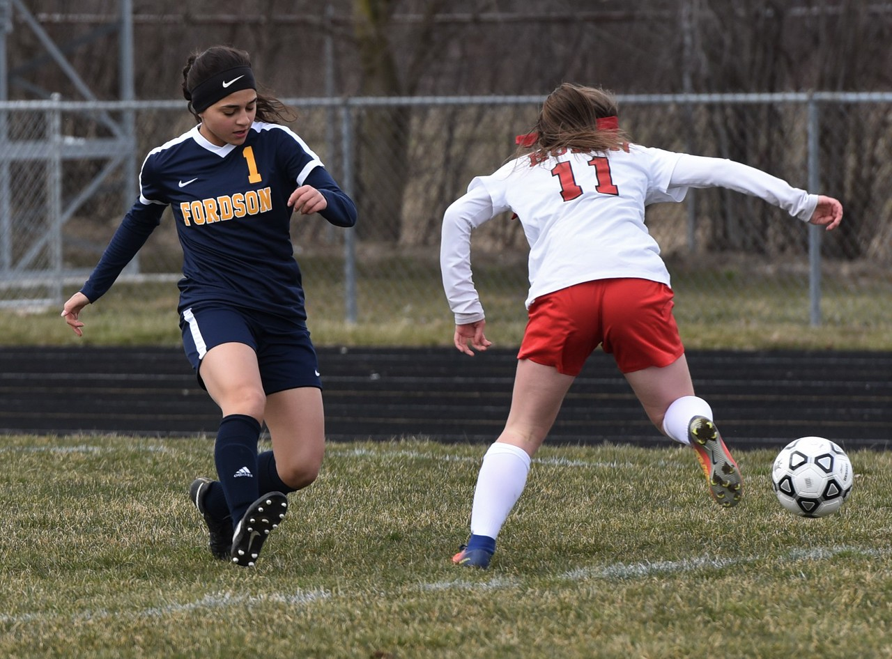 New Boston Huron welcomed Dearborn Fordson on Tuesday afternoon and defeated the Tractors by a score of 8-0. Photo by Alex Franzen - For Digital First Media