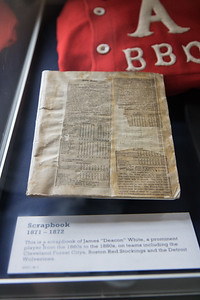 Historic base ball artifacts were on display, including the championship trophy bat from the 1867 World's Base Ball Tournament in Detroit. Photo by Debbie Malyn for the Press & Guide.