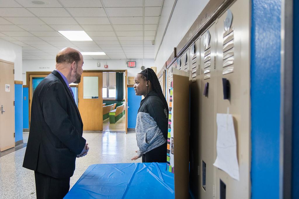 . Autumn Davis greets Mayor John B. O\'Reilly, Jr. Photo by Debbie Malyn.