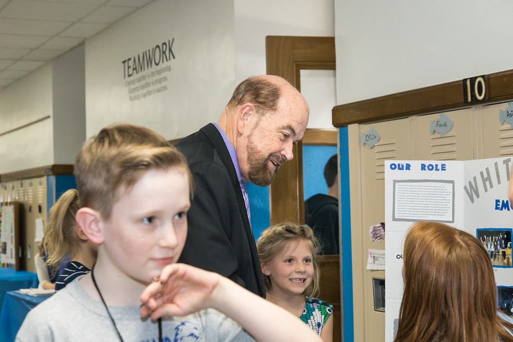 . Students were excited to explain their leadership roles to Mayor John B. O\'Reilly, Jr. Photo by Debbie Malyn.