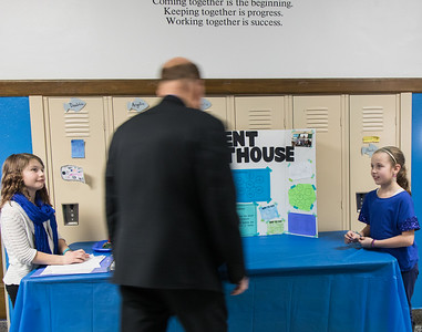Students were excited to explain their leadership roles to Mayor John B. O'Reilly, Jr. Maddy Hall and June Koglemann esplained the role of the Student Lighthouse leaders. Photo by Debbie Malyn.