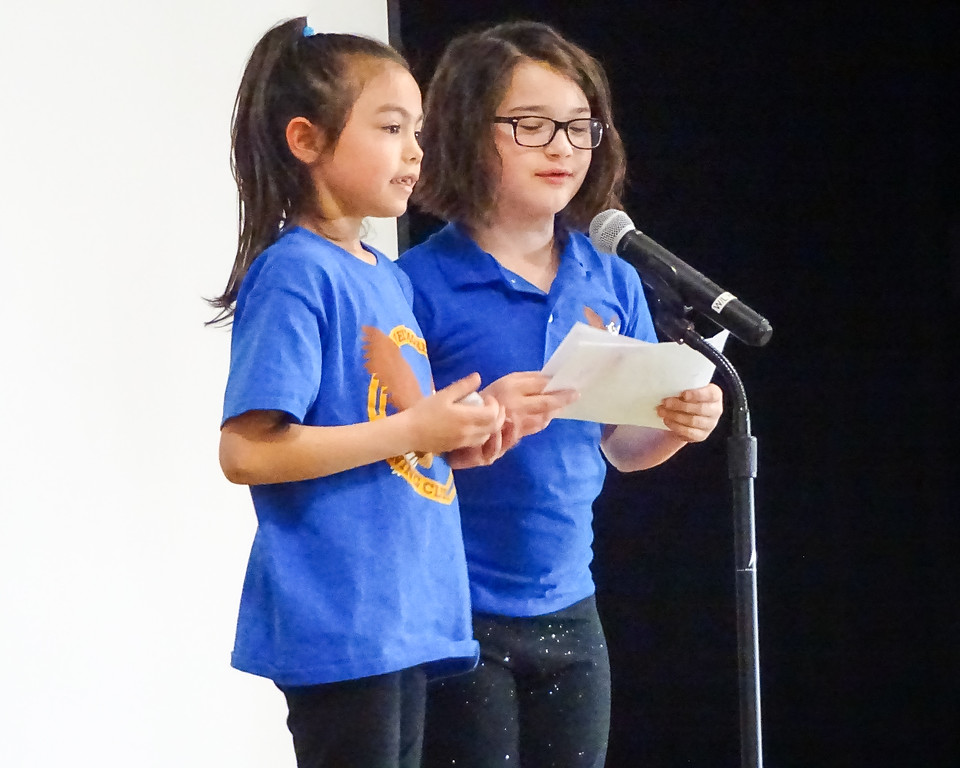 . Habit Time assembly emcees Calyssa Post and Sophia Nowak. Photo by student Broadcast Club member Lily Majcher.